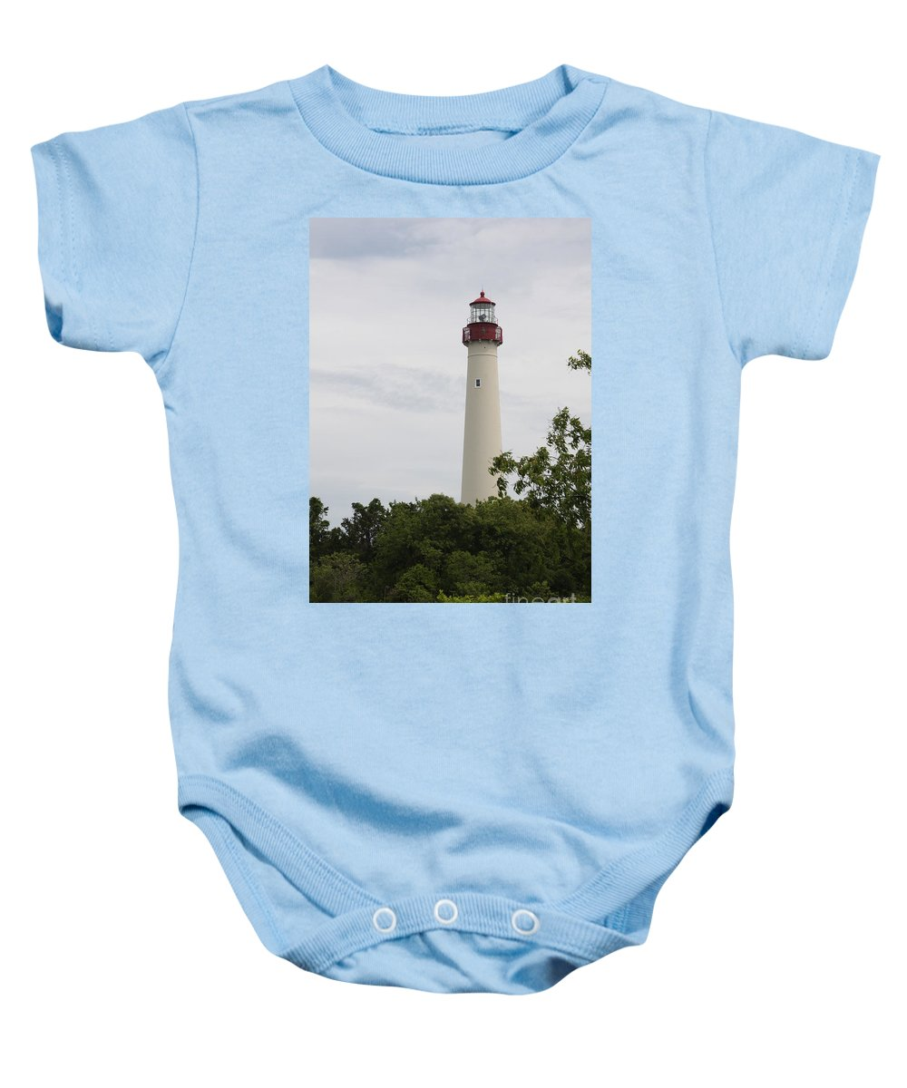Lighthouse Baby Onesie featuring the photograph Cape May Lighthouse II by Christiane Schulze Art And Photography