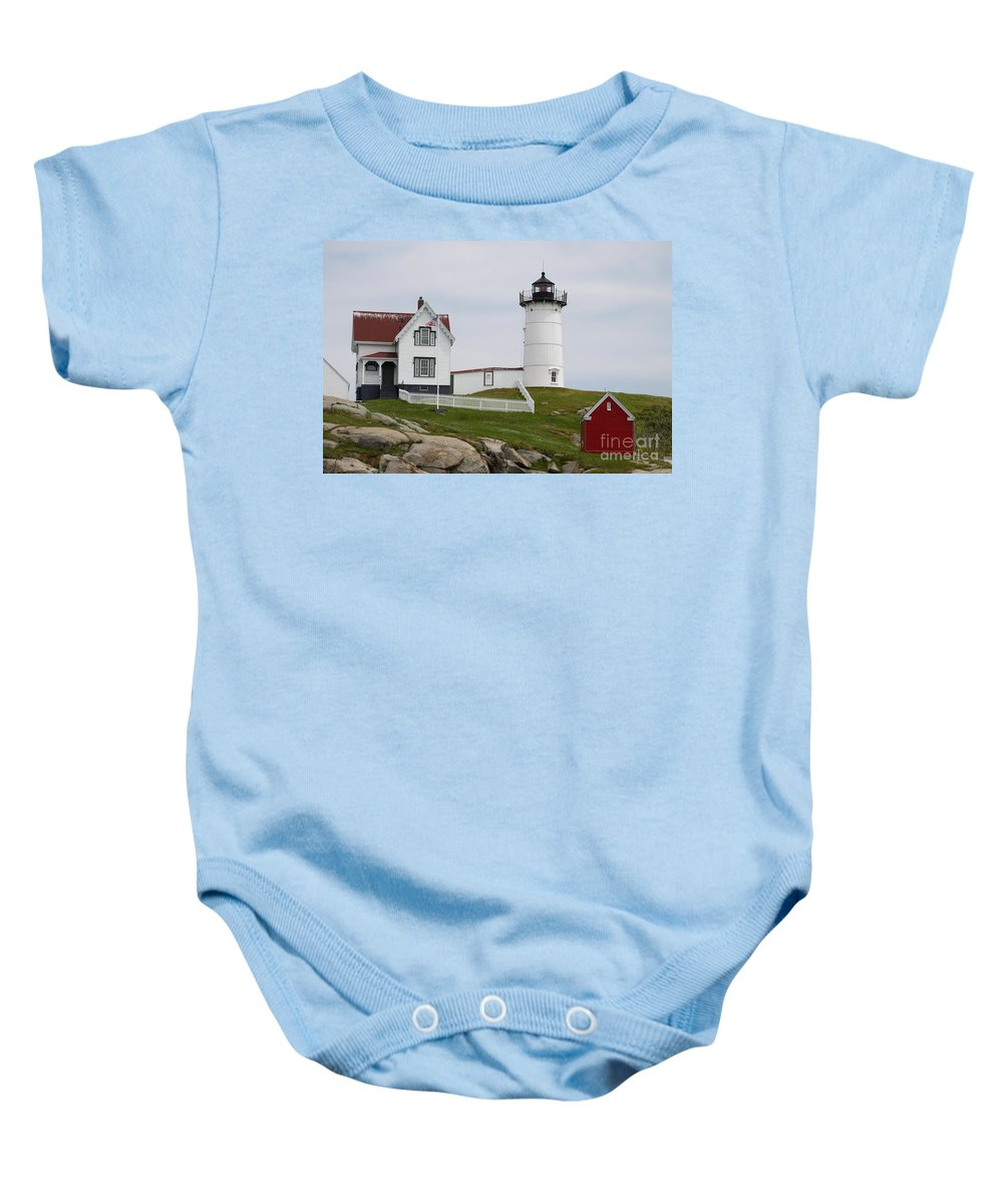 Cape Neddick Baby Onesie featuring the photograph Cape Neddick Lighthouse by Christiane Schulze Art And Photography