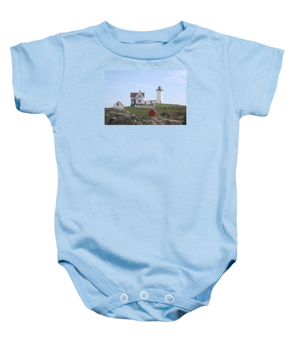 Ligthouse Baby Onesie featuring the photograph Cape Neddick Lighthouse - Me by Christiane Schulze Art And Photography
