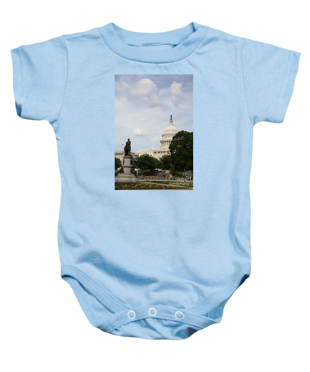 Capitol.statue Baby Onesie featuring the photograph Capitol And Statue Washington Dc by Christiane Schulze Art And Photography