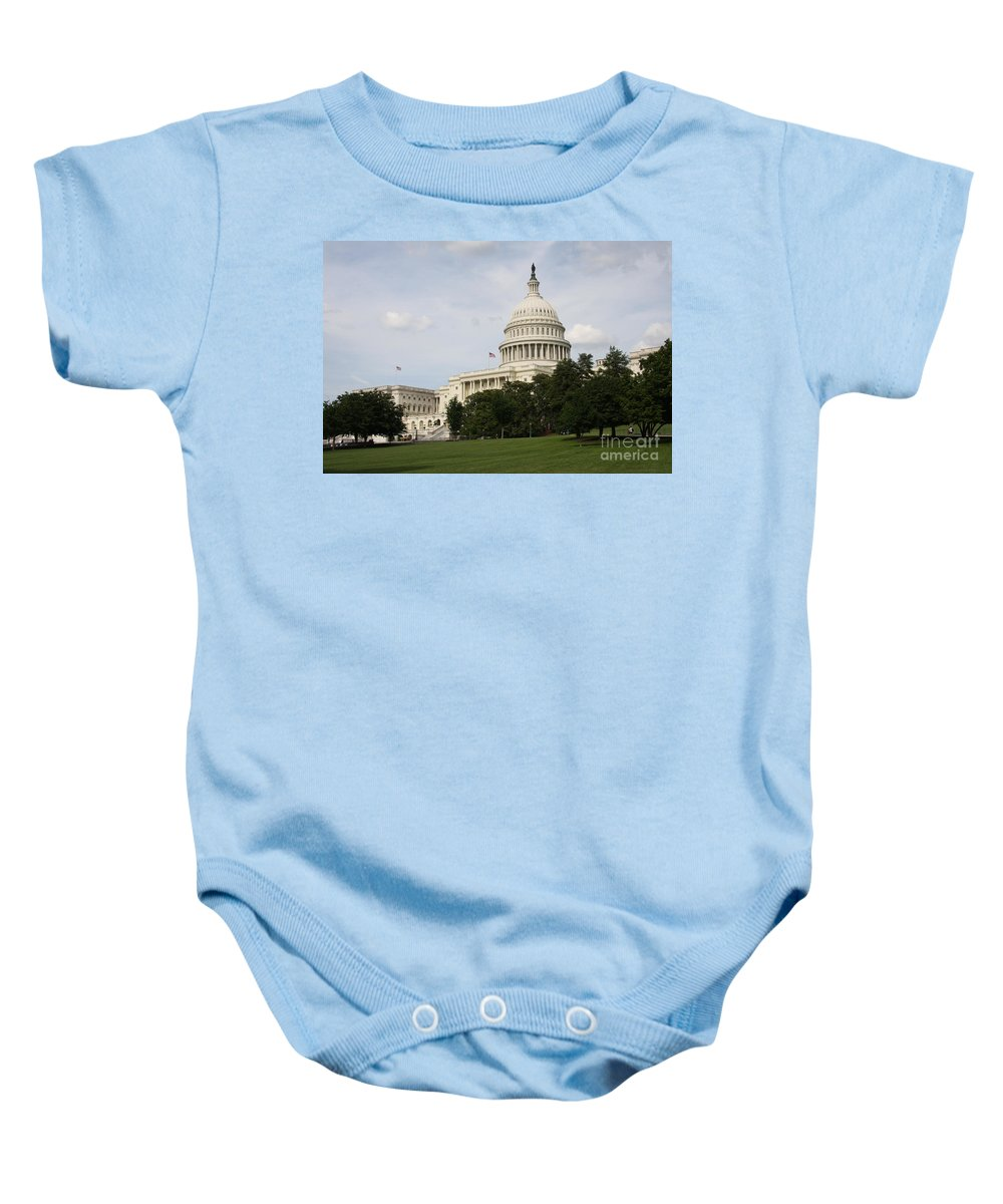 Capitol Baby Onesie featuring the photograph Capitol Hill Washington Dc by Christiane Schulze Art And Photography