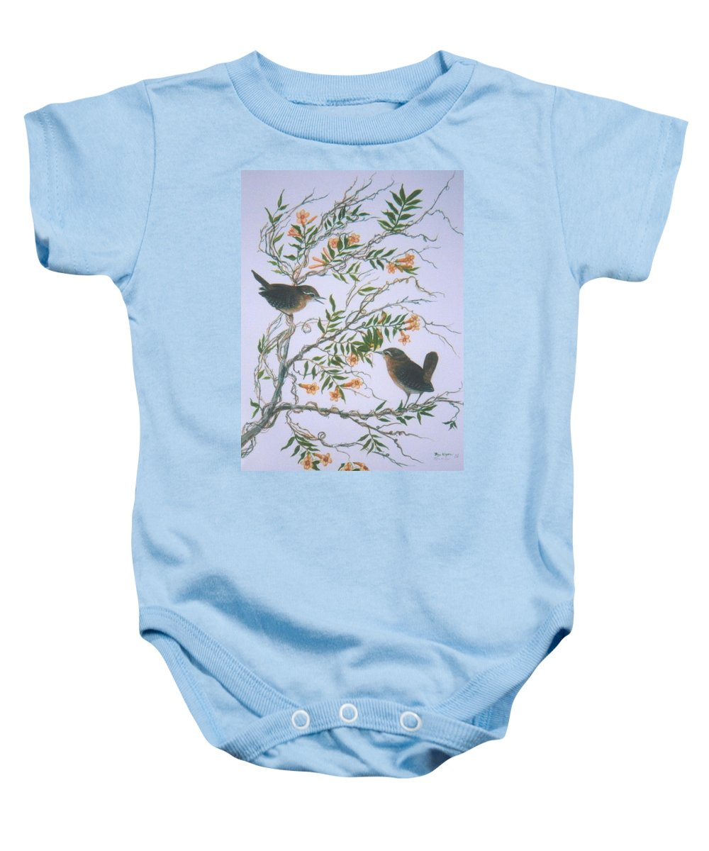 Bird; Flowers Baby Onesie featuring the painting Carolina Wren And Jasmine by Ben Kiger
