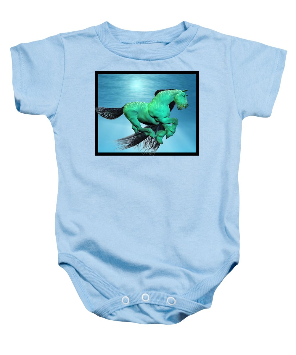 Horse Baby Onesie featuring the digital art Carousel V by Betsy Knapp