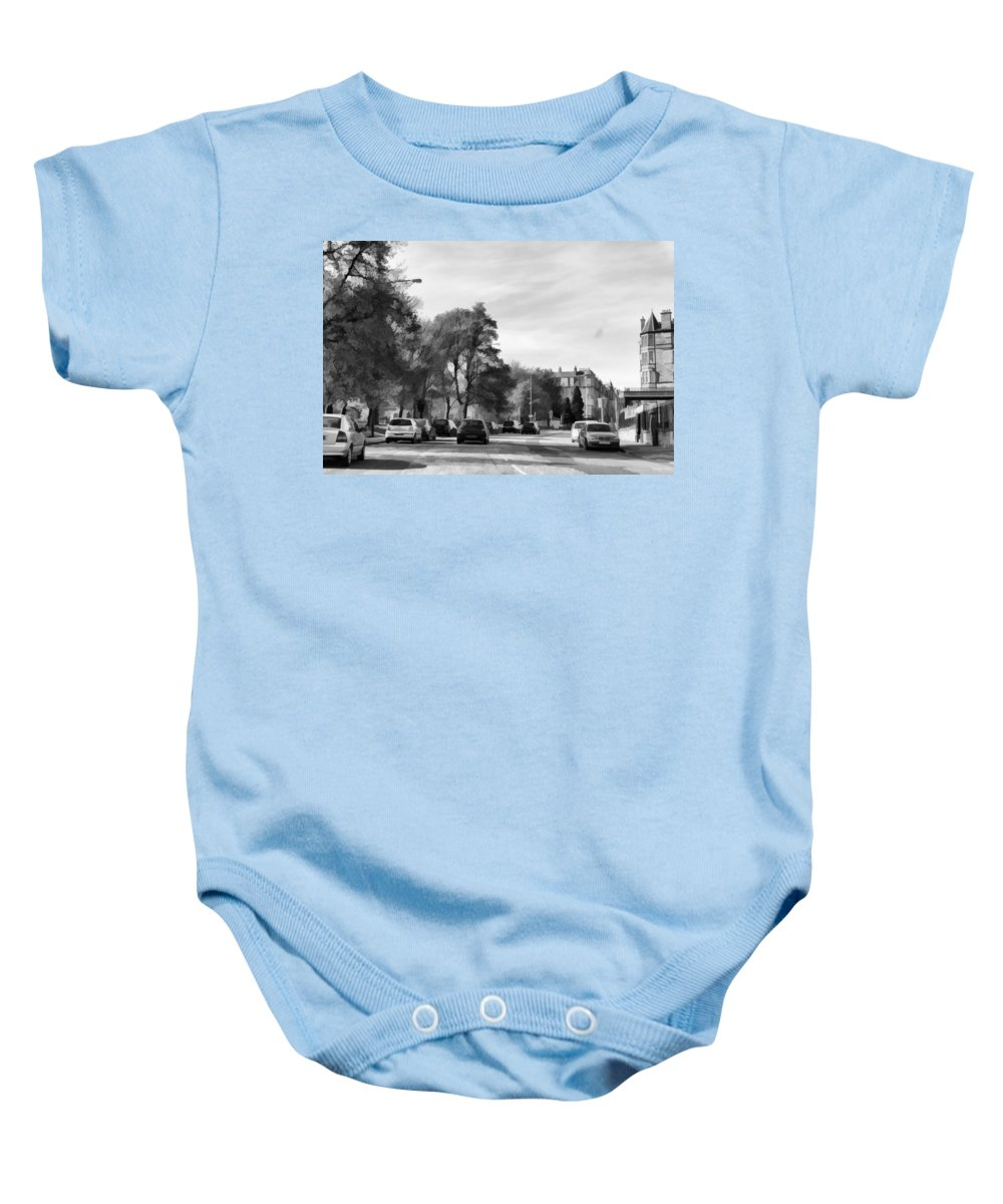 Action Baby Onesie featuring the digital art Cars On A Street In Edinburgh by Ashish Agarwal