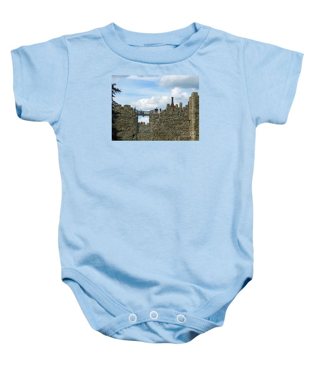 England Baby Onesie featuring the photograph Castle Wall Walk by Ann Horn