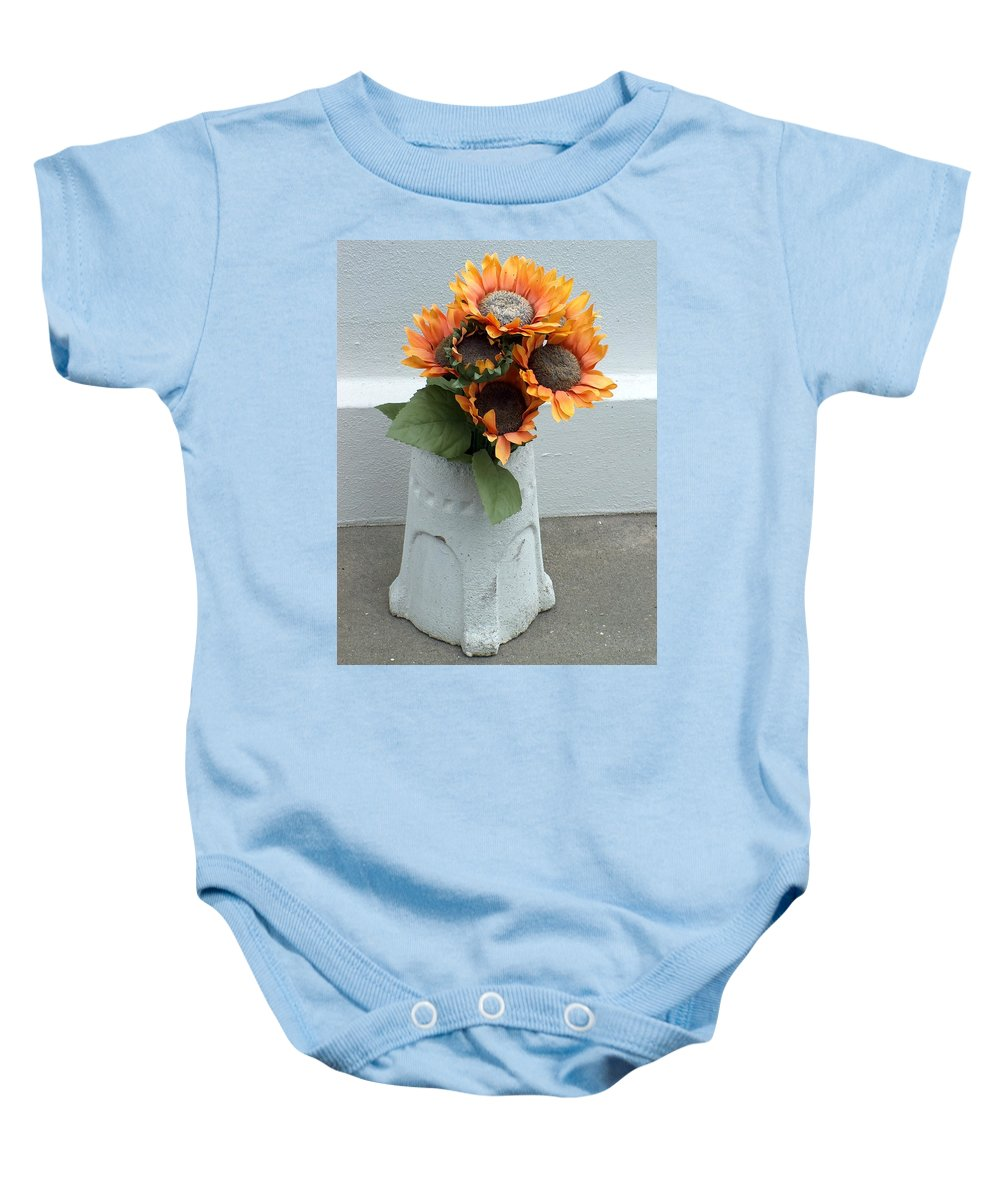Flower Baby Onesie featuring the photograph Cemetary Flowers 1 by Richard Booth