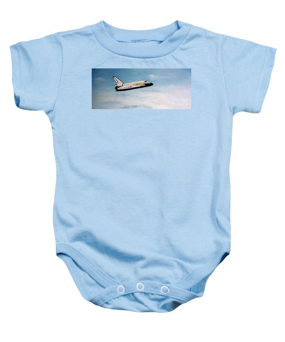 Shuttle Baby Onesie featuring the painting Challenger by Murphy Elliott