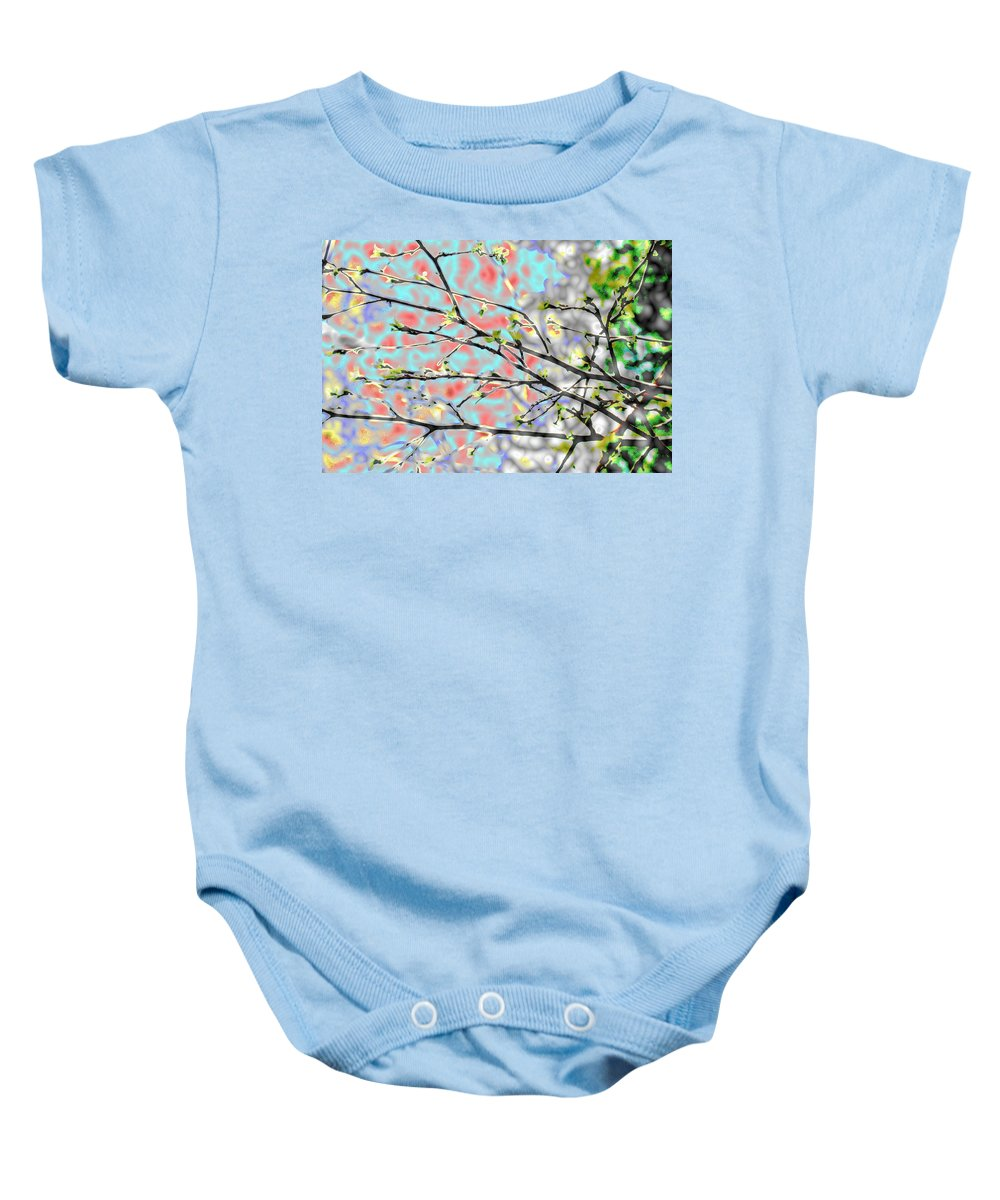 Abstract Baby Onesie featuring the photograph Change To Spring by Barbara S Nickerson