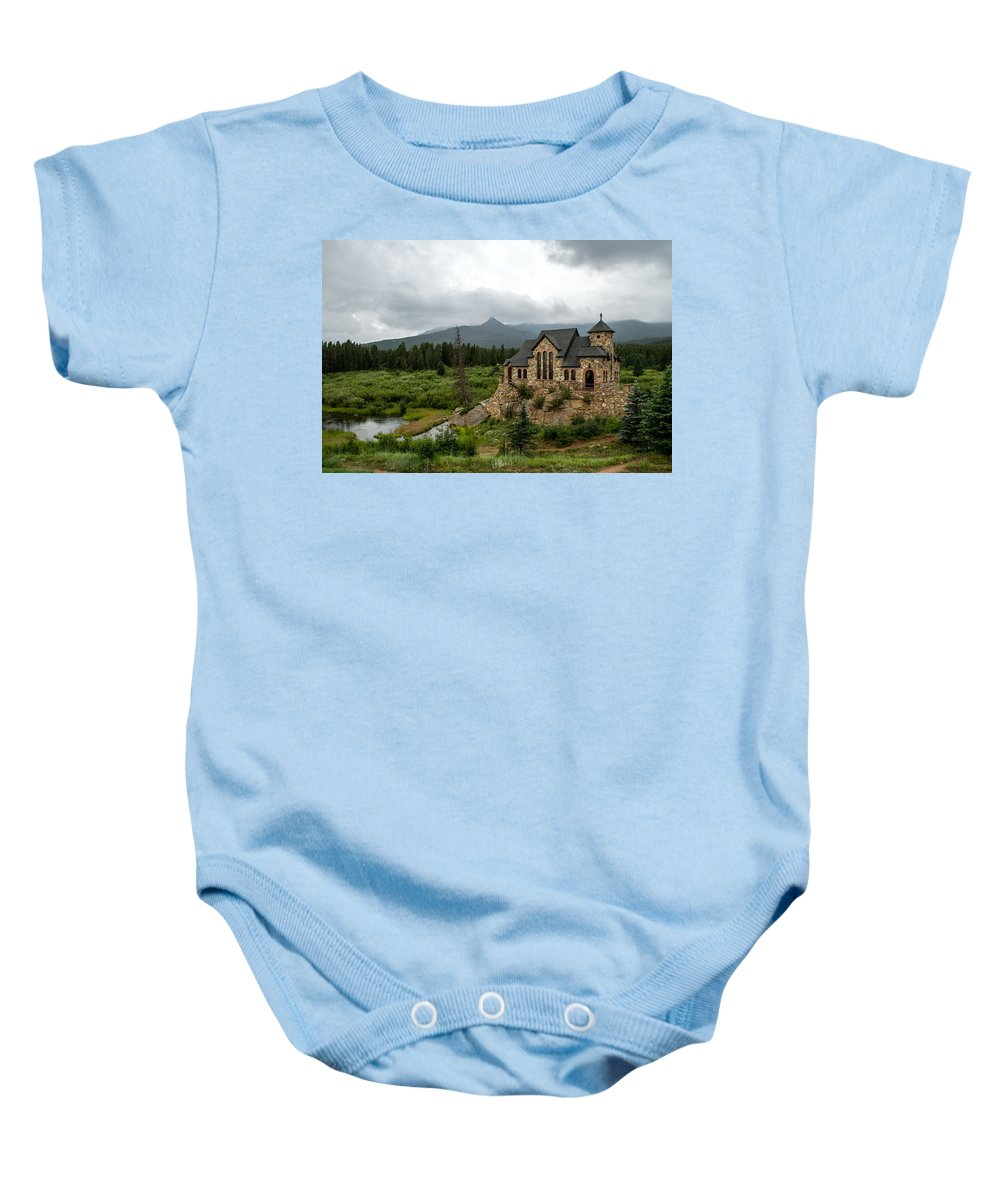 Chapel On The Rock Baby Onesie featuring the photograph Chapel On The Rock by Jeff Stoddart