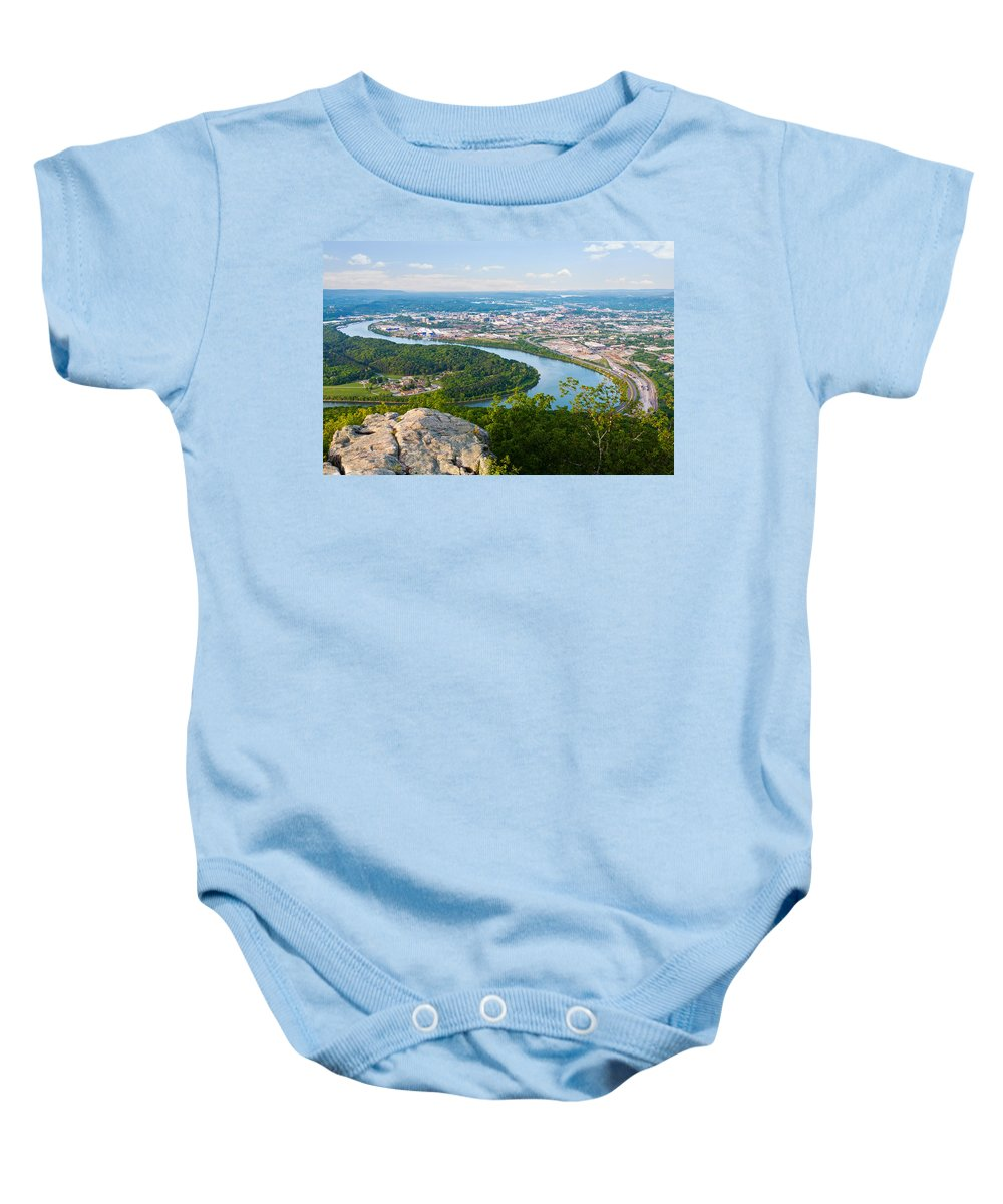 Chattanooga Baby Onesie featuring the photograph Chattanooga Spring Skyline by Melinda Fawver