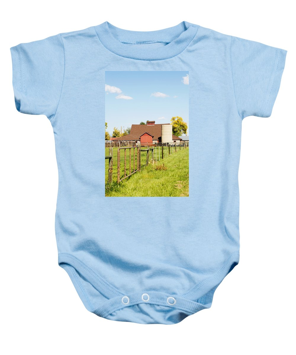 Cherryvale Baby Onesie featuring the photograph Cherryvale Barn Boulder by Marilyn Hunt
