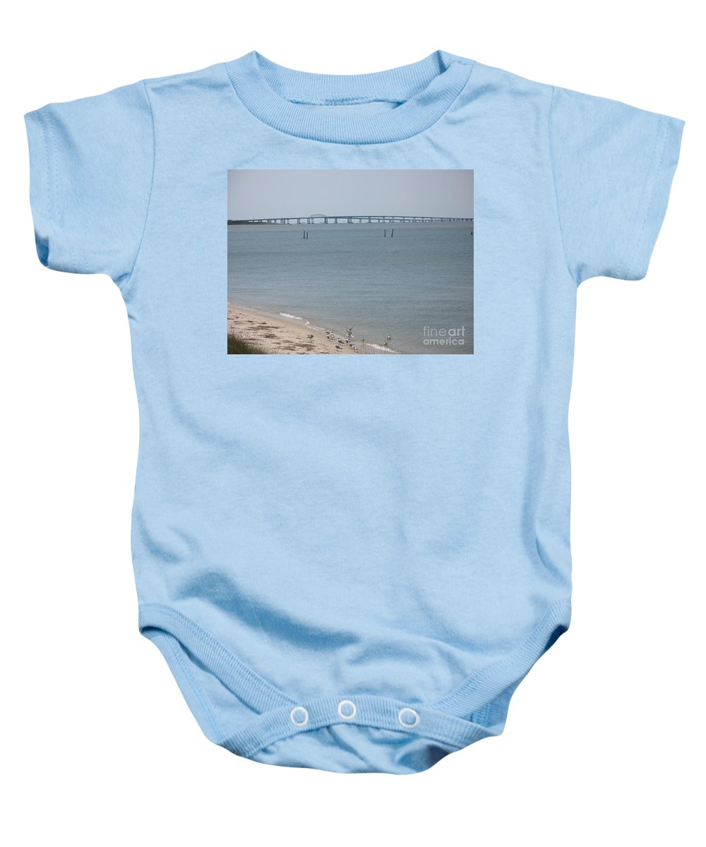 Bay Baby Onesie featuring the photograph Chesapeake Bay Bridge - Tunnel by Christiane Schulze Art And Photography