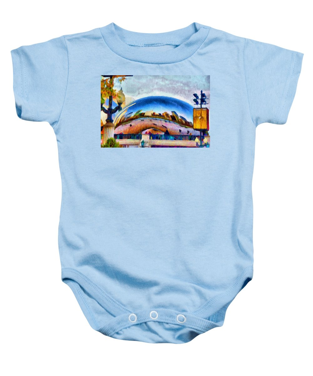 Bean Baby Onesie featuring the painting Chicago Reflected by Jeffrey Kolker