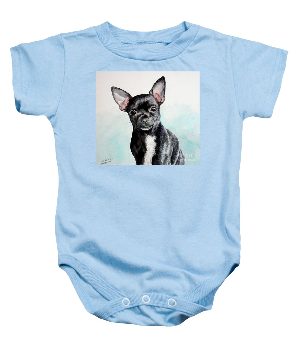 Dog Baby Onesie featuring the painting Chihuahua Black by Christopher Shellhammer
