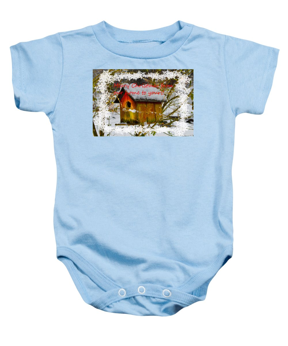 Appalachia Baby Onesie featuring the photograph Chilly Birdhouse Holiday Card by Debra and Dave Vanderlaan