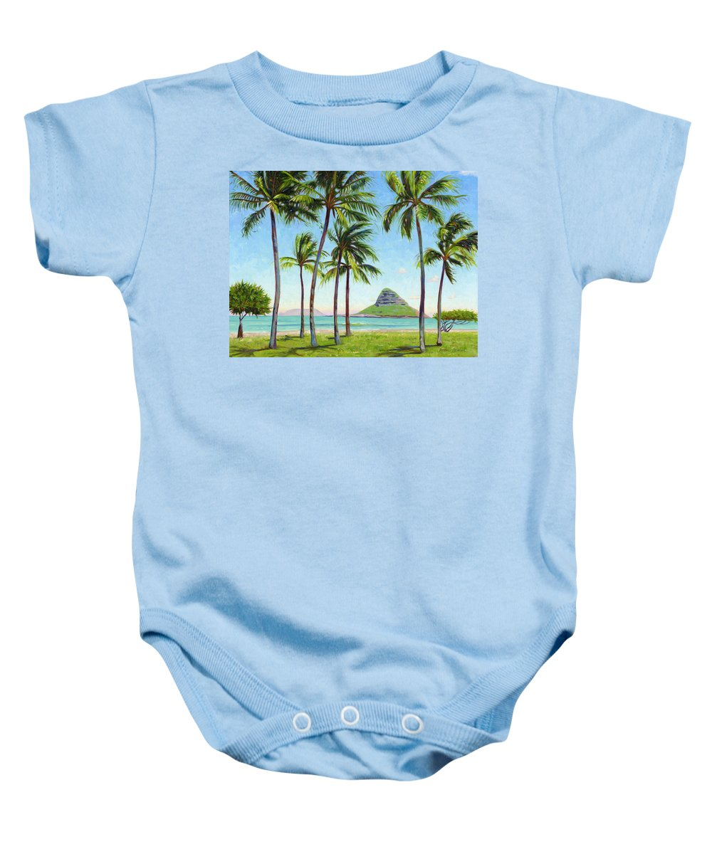 Chinamans Hat Baby Onesie featuring the painting Chinamans Hat - Oahu by Steve Simon