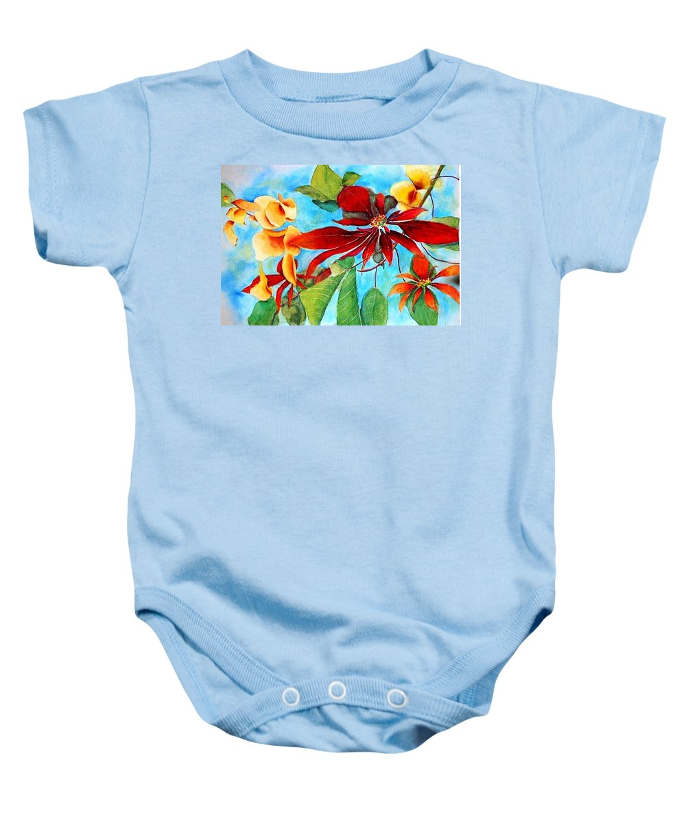 Watercolor Baby Onesie featuring the painting Christmas All Year Long by Debbie Lewis