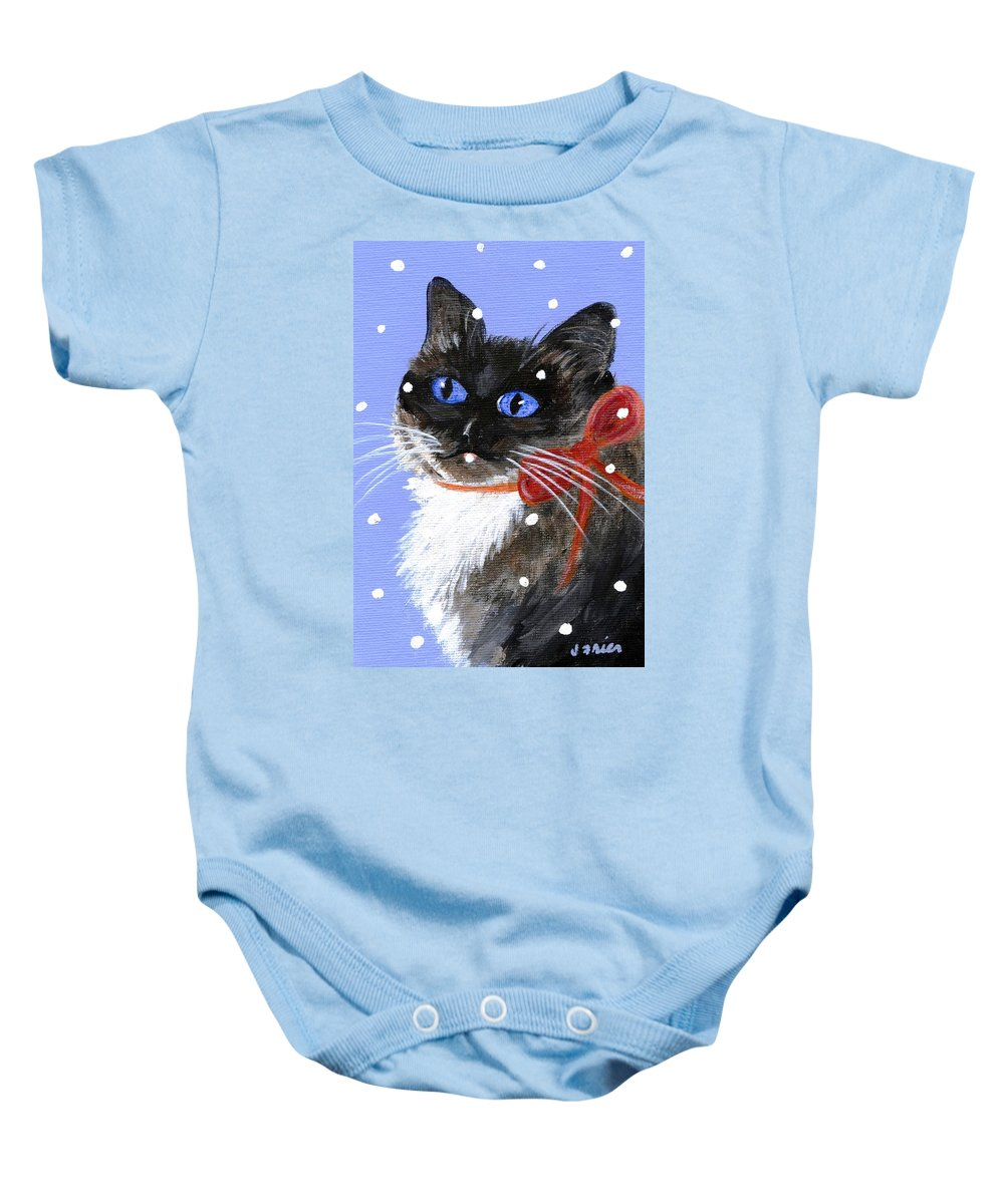 Christmas Baby Onesie featuring the painting Christmas Siamese by Jamie Frier