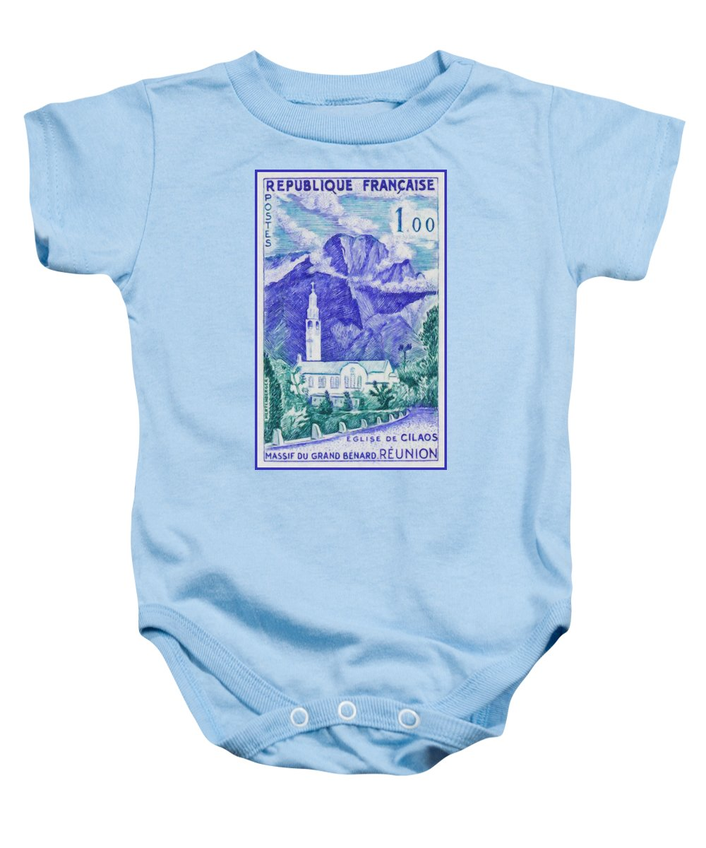 Heritage Baby Onesie featuring the painting Church Of Solid Cilaos Benard Grand. Meeting by Jeelan Clark