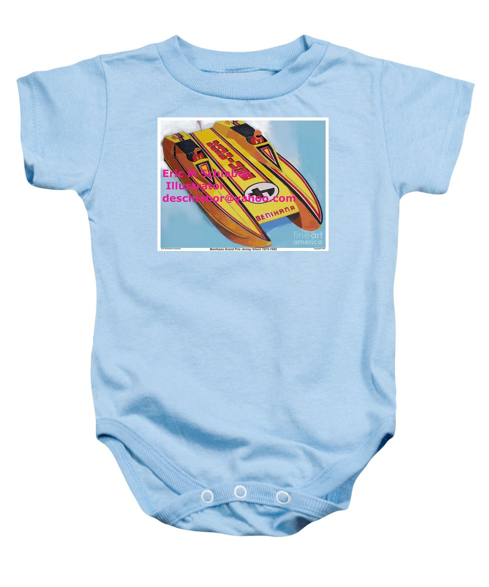 Power Boat Baby Onesie featuring the painting Cigarett Power Boat Illustration by Eric Schiabor