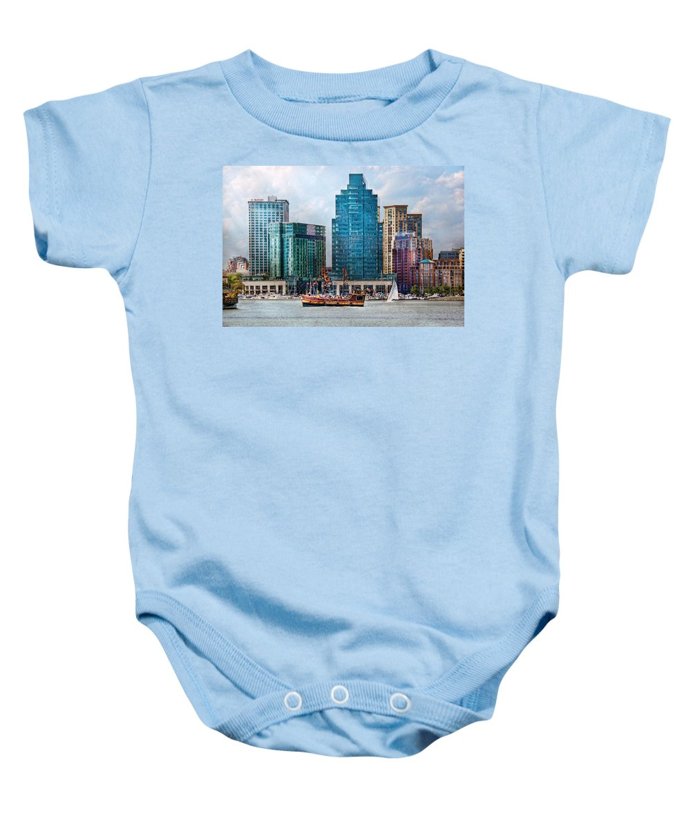 Maryland Baby Onesie featuring the photograph City - Baltimore Md - Harbor East by Mike Savad