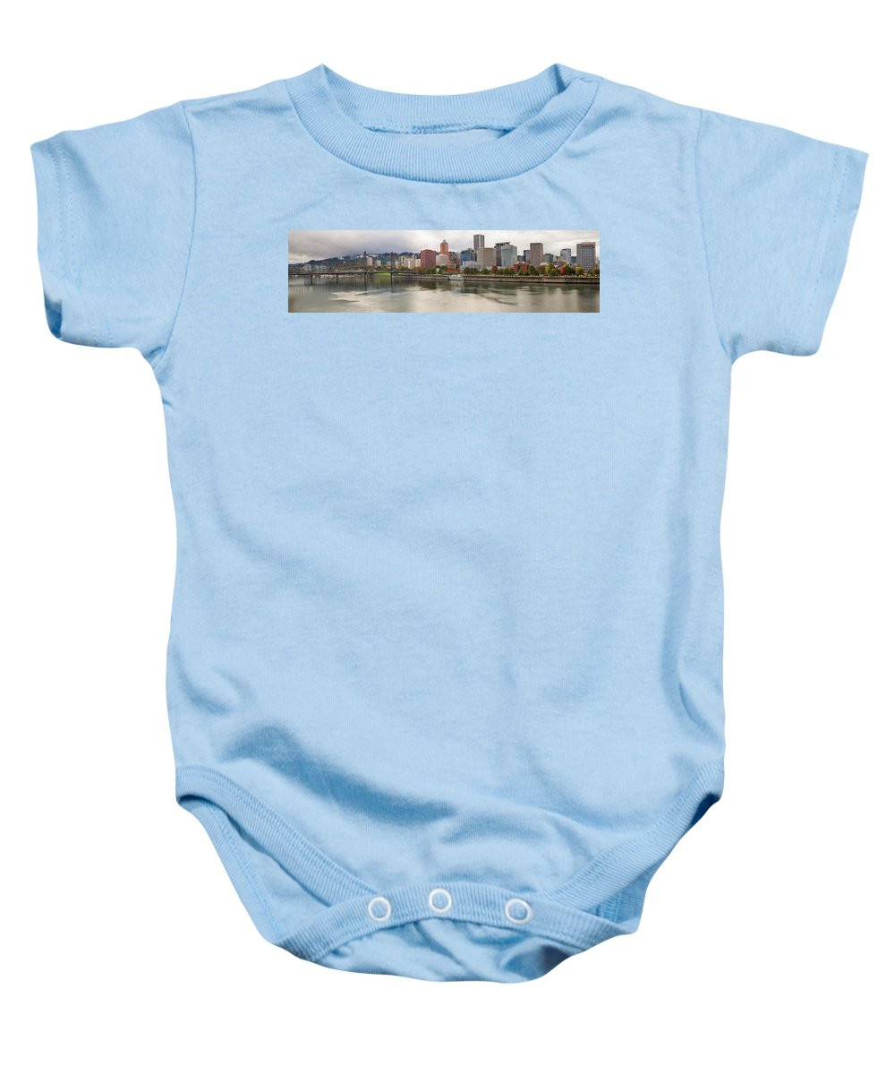 Portland Baby Onesie featuring the photograph City Of Portland Oregon In The Fall Panorama by Jit Lim