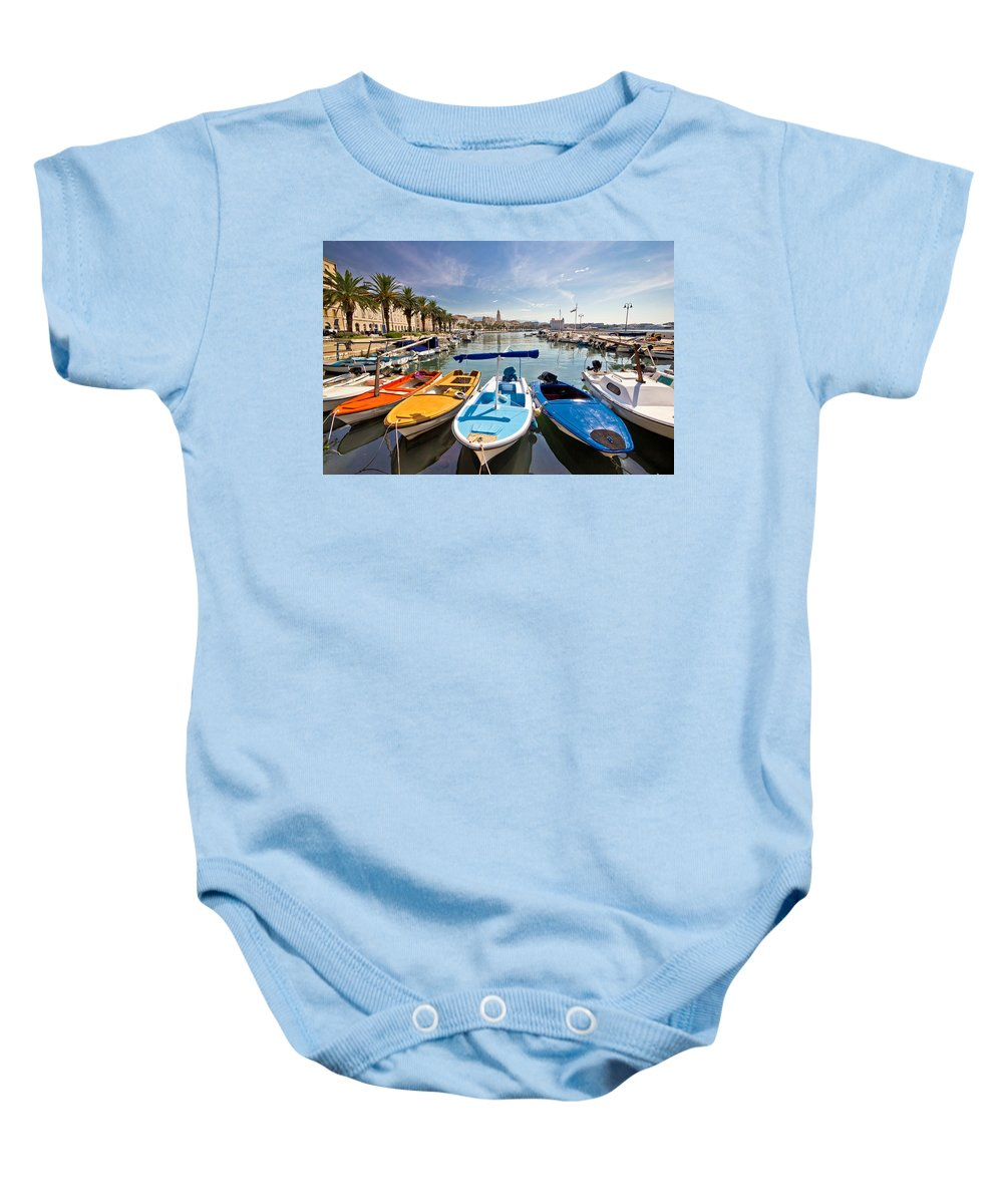 Split Baby Onesie featuring the photograph City Of Split Colorful Harbor View by Brch Photography