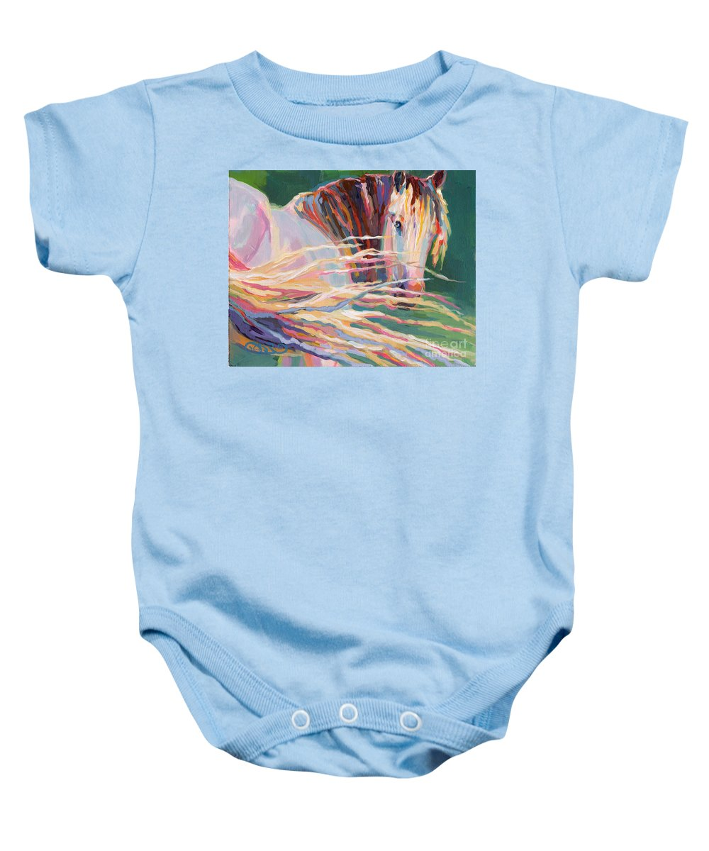 Gypsy Vanner Baby Onesie featuring the painting Clarisse by Kimberly Santini