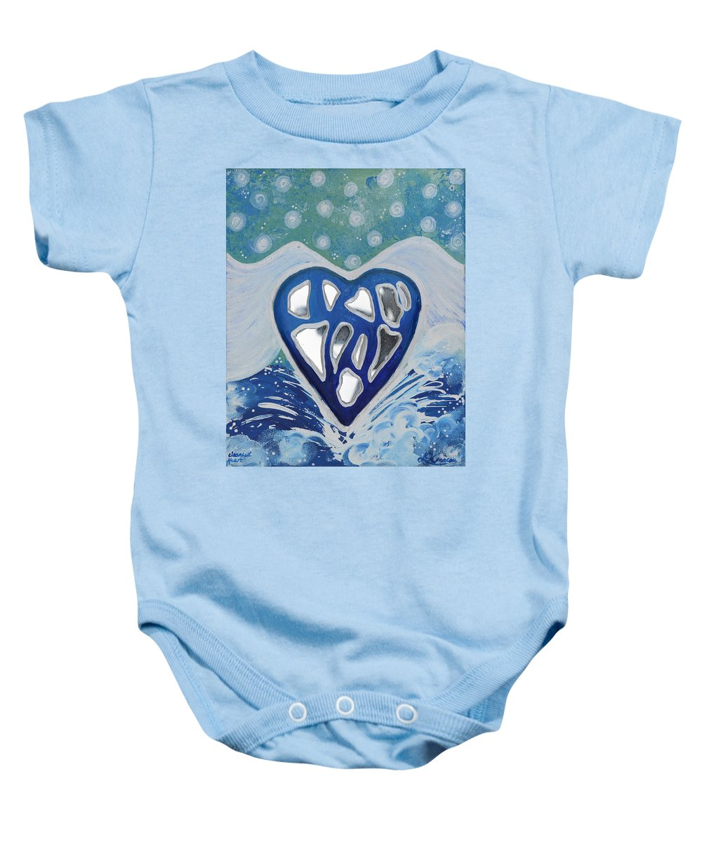 Energy Collection Baby Onesie featuring the painting Cleansed Heart Best Reflections Energy Collection by Catt Kyriacou