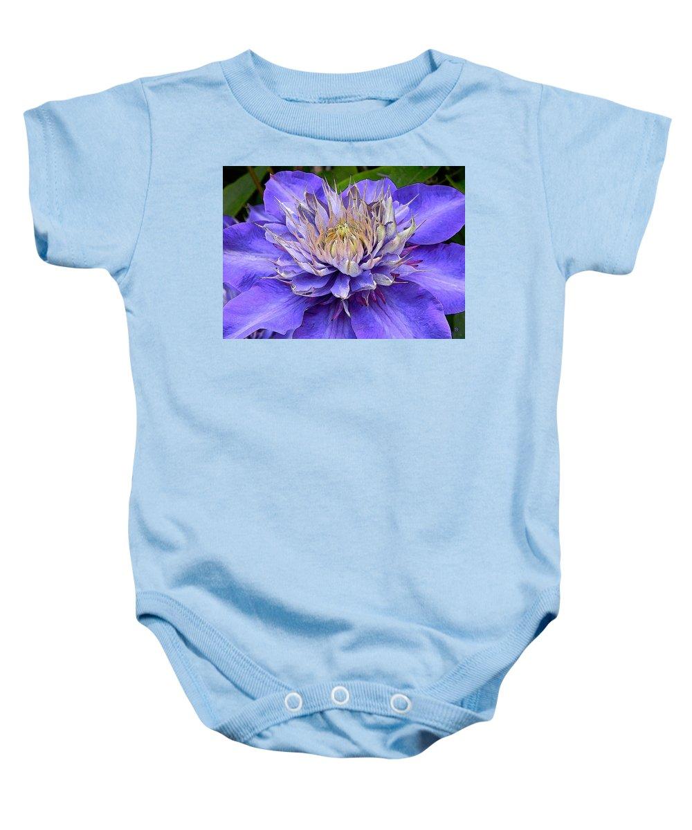 Clematis Baby Onesie featuring the digital art Clematis Blue by Gary Olsen-Hasek