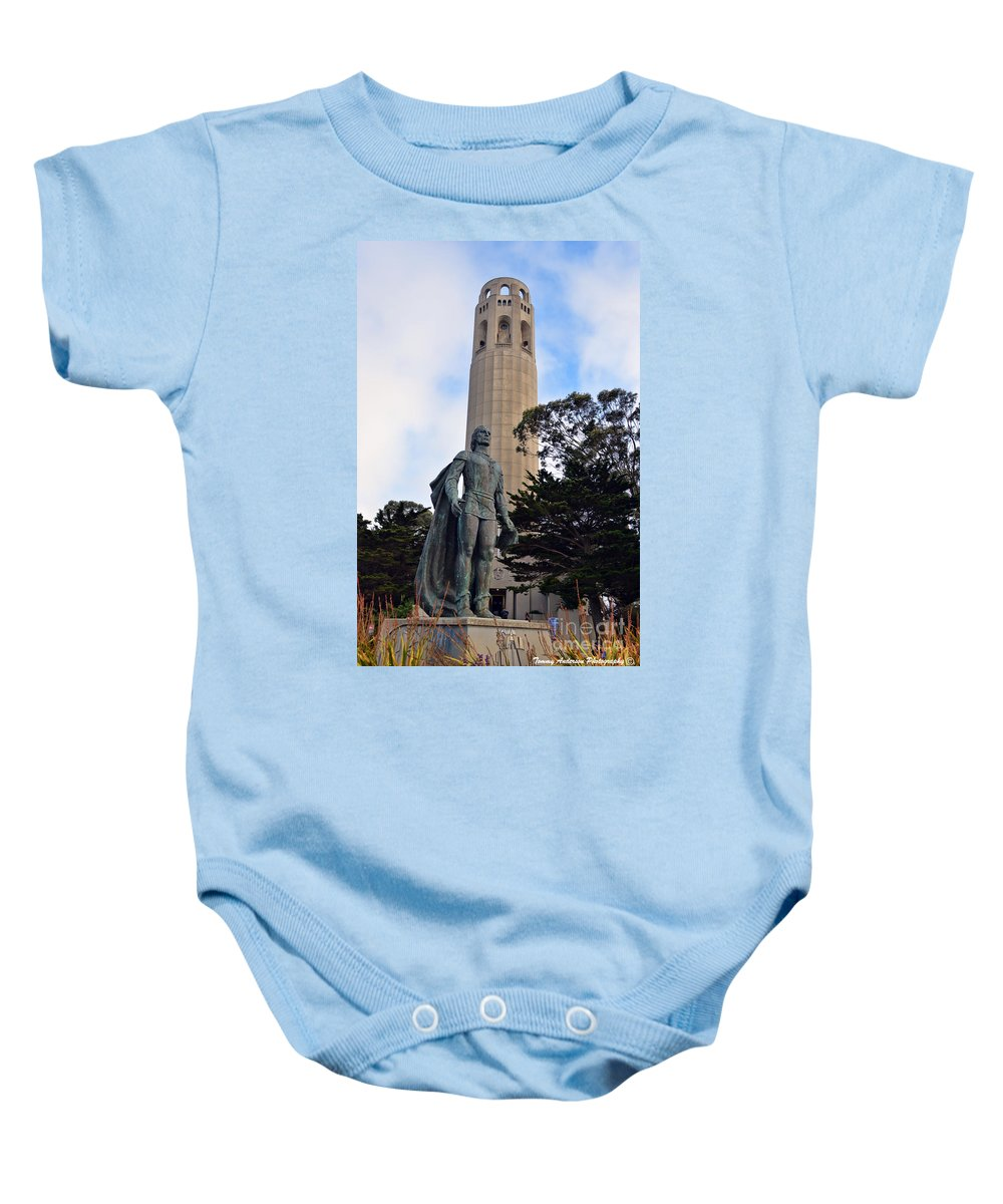 Coit Tower Baby Onesie featuring the photograph Coit Tower -1 by Tommy Anderson
