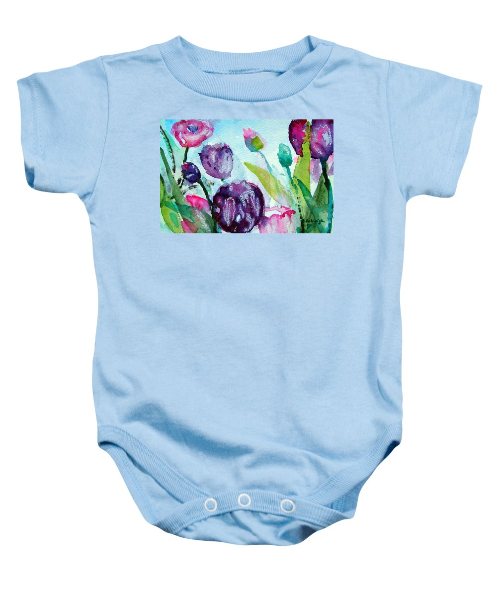 Spring Time Baby Onesie featuring the painting Collecting Pink And Purple Tulips by Ashleigh Dyan Bayer