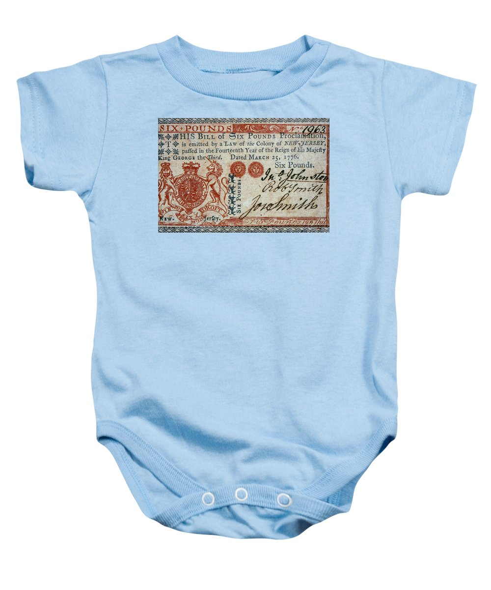 1776 Baby Onesie featuring the photograph Colonial Currency, 1776 by Granger
