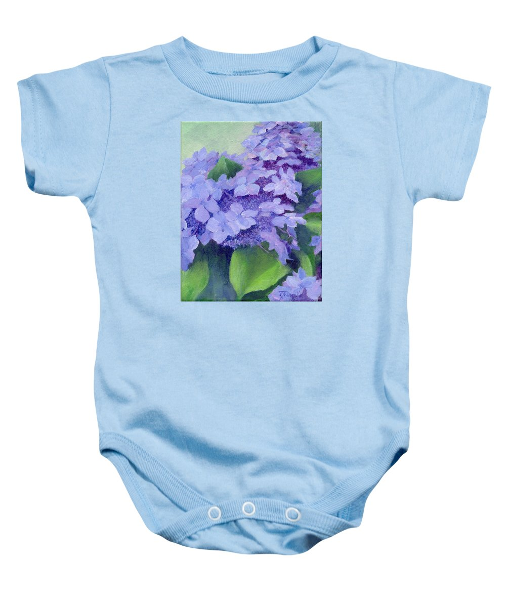 Hydrangeas Painting Baby Onesie featuring the painting Colorful Hydrangeas Original Purple Floral Art Painting Garden Flower Floral Artist K. Joann Russell by K Joann Russell