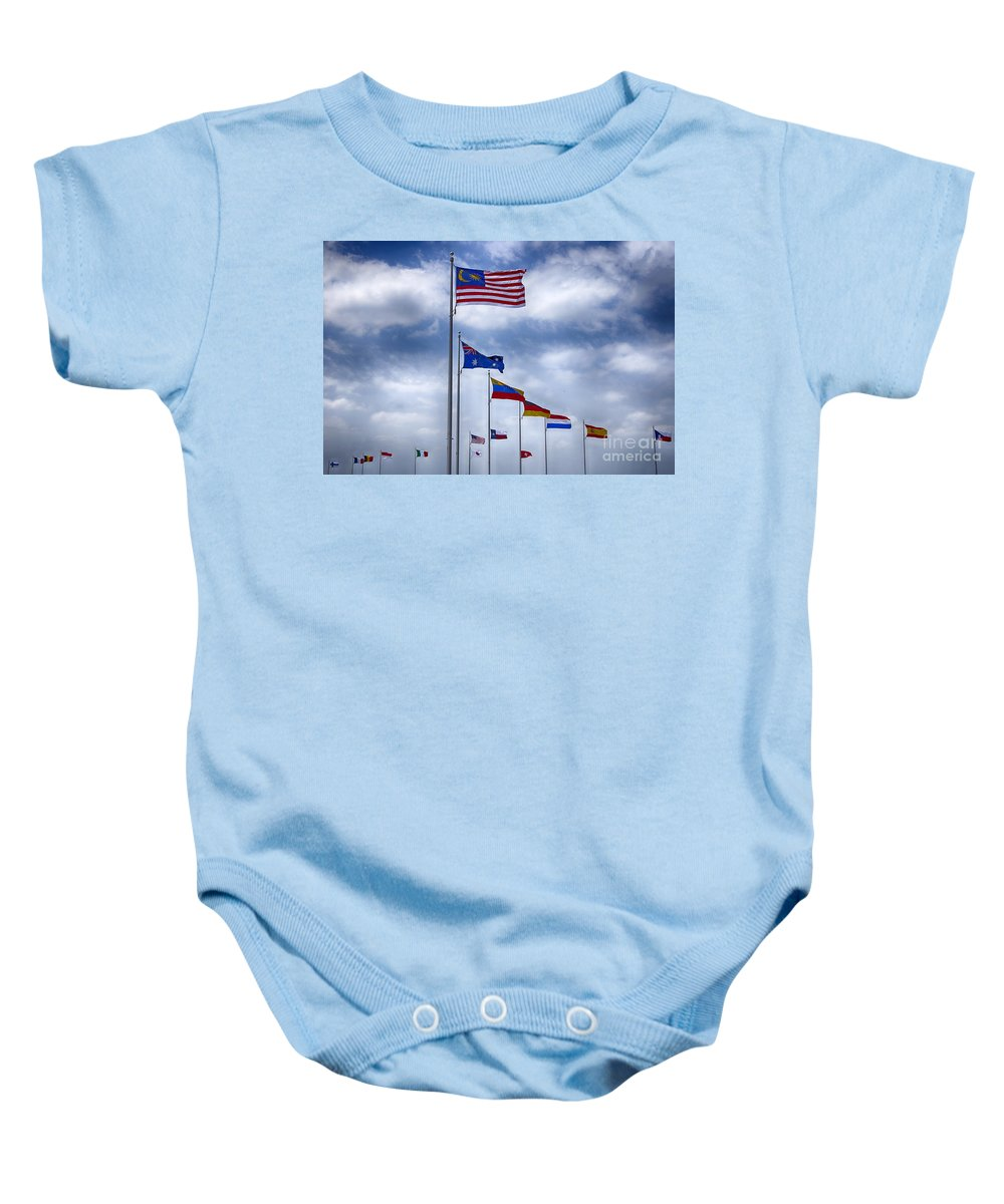 Motorcycle Baby Onesie featuring the photograph Competing Countries V2 by Douglas Barnard