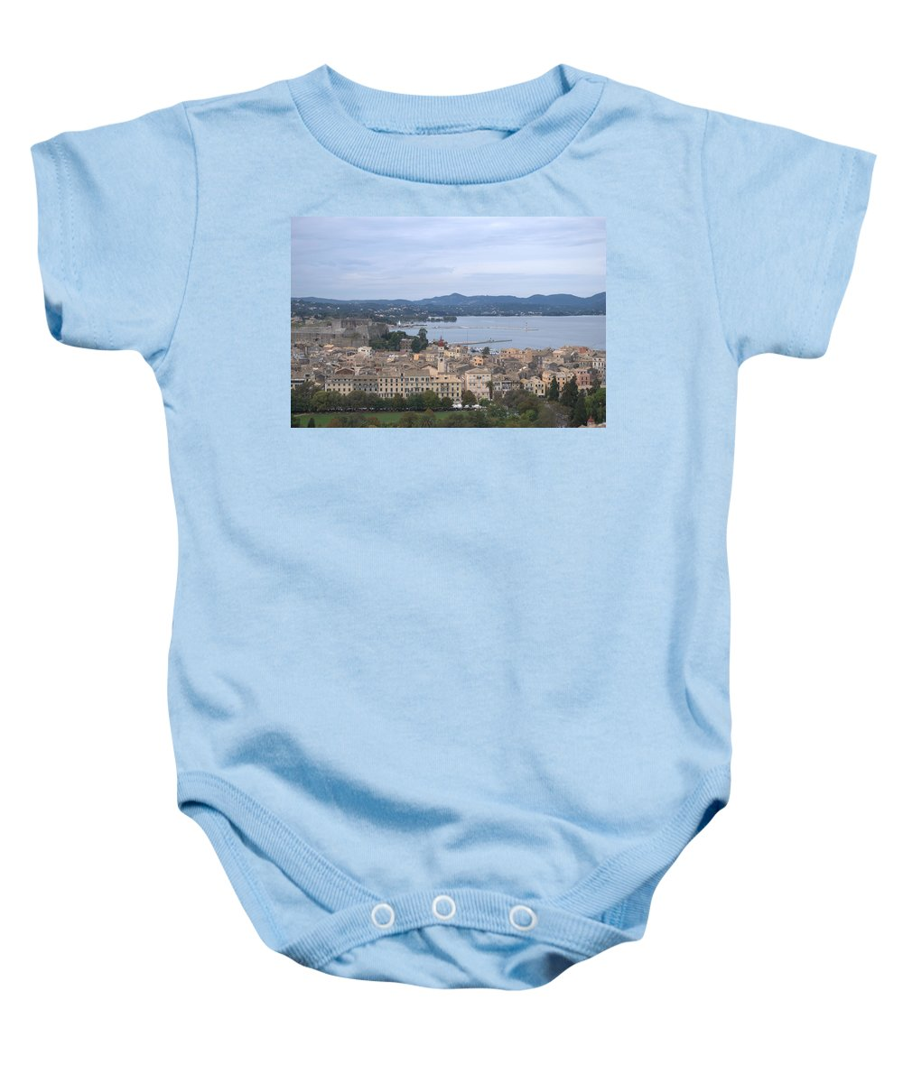 Corfu Baby Onesie featuring the photograph Corfu.new Port by George Katechis