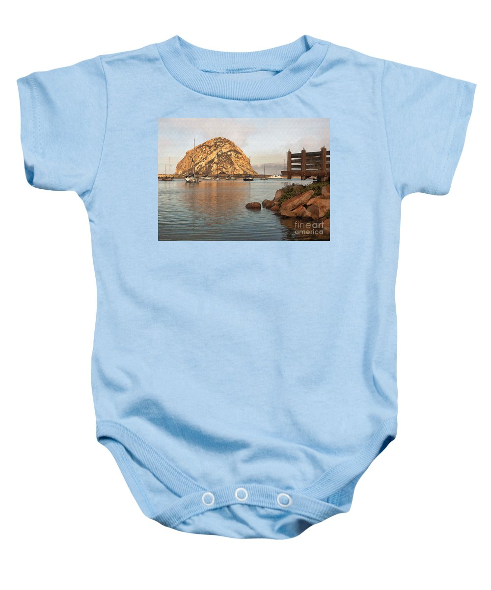 Morro Rock Baby Onesie featuring the digital art Corner Harbor by Sharon Foster