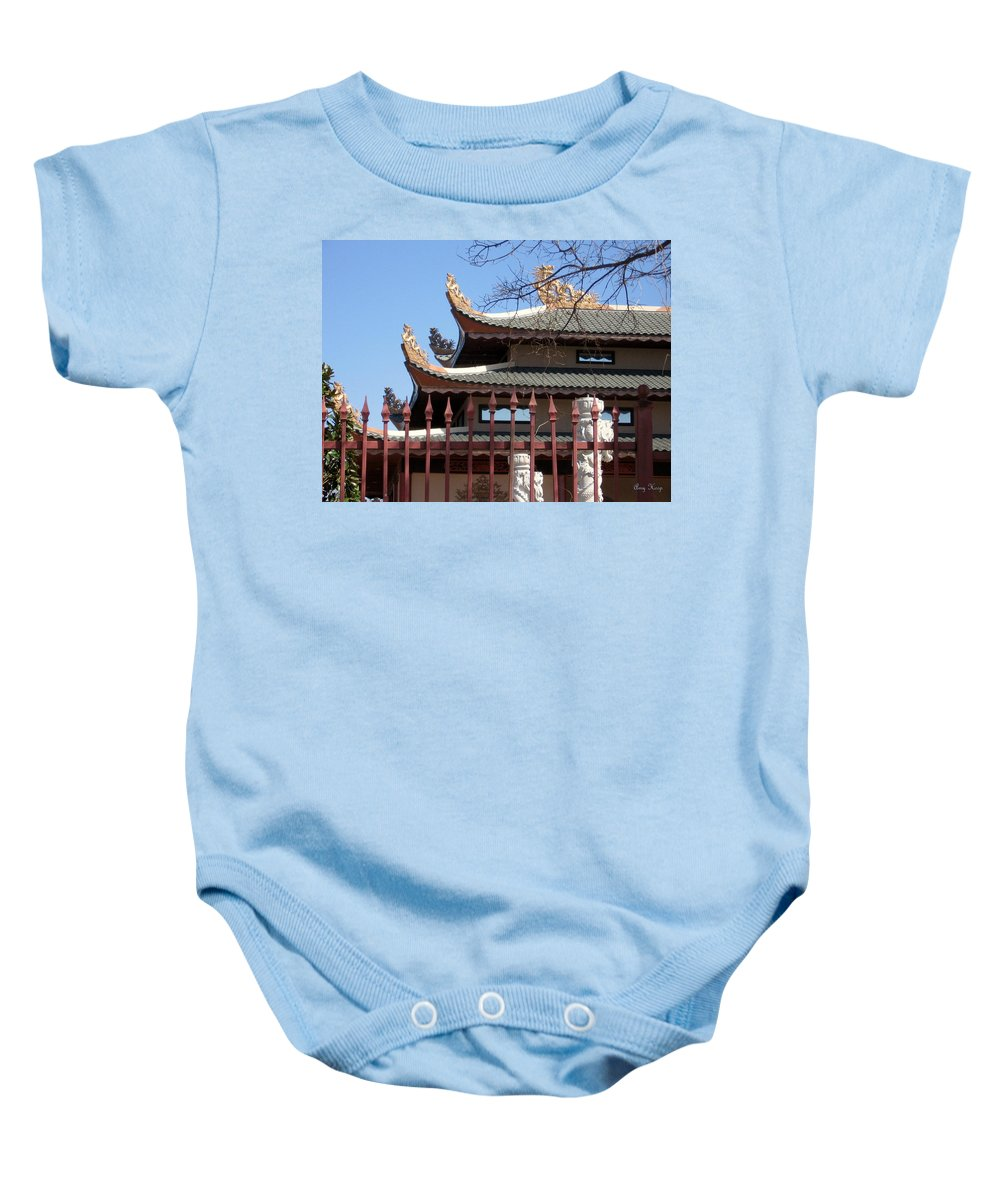 Temple Baby Onesie featuring the photograph Corners Of A Temple In Grand Prairie Texas by Amy Hosp