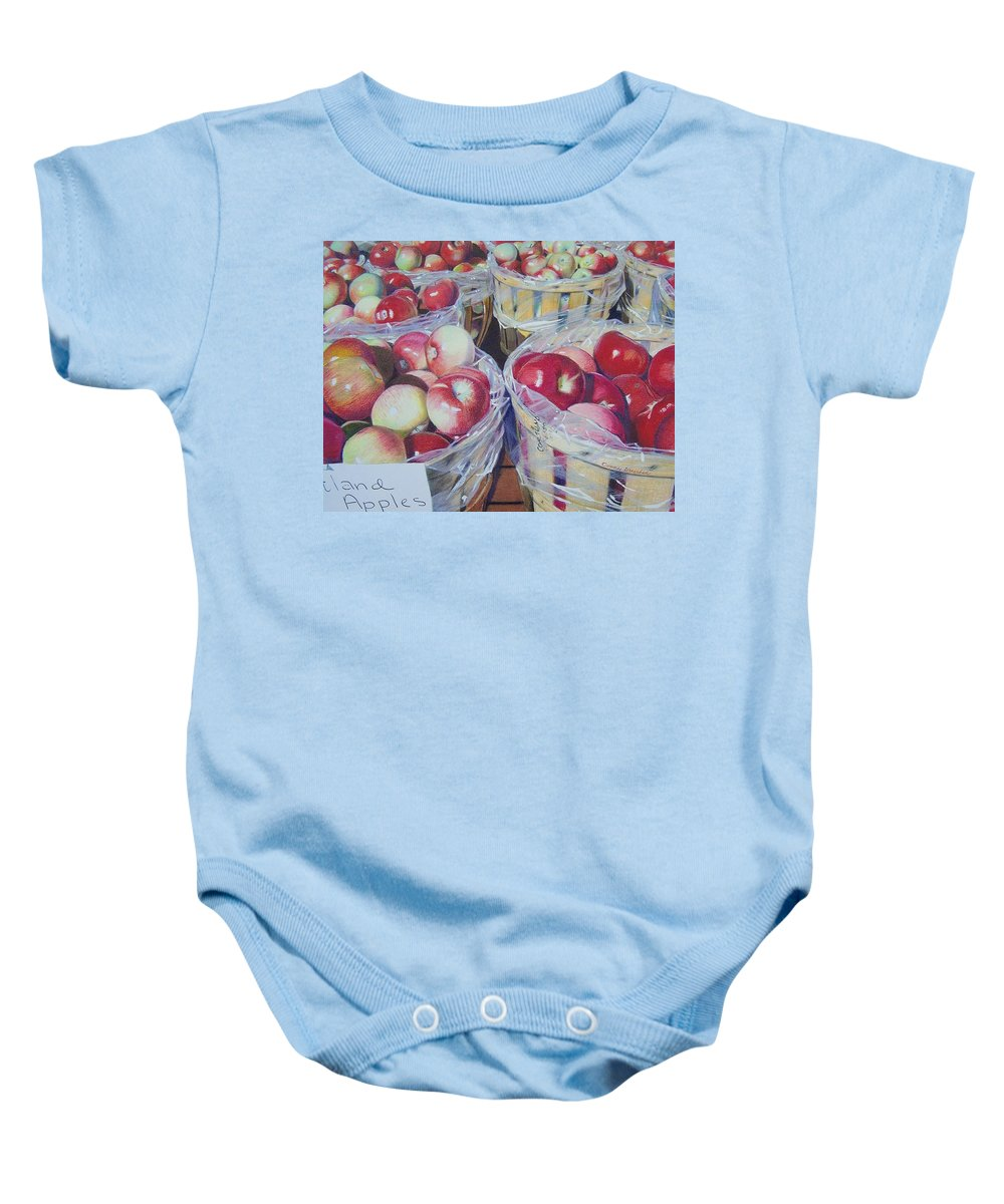 Apple Baby Onesie featuring the mixed media Cortland Apples by Constance Drescher