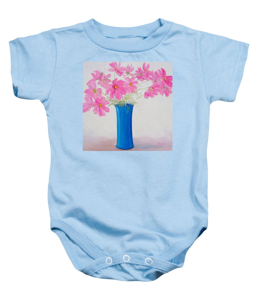 Cosmos Flowers Baby Onesie featuring the painting Cosmos Flowers by Jan Matson