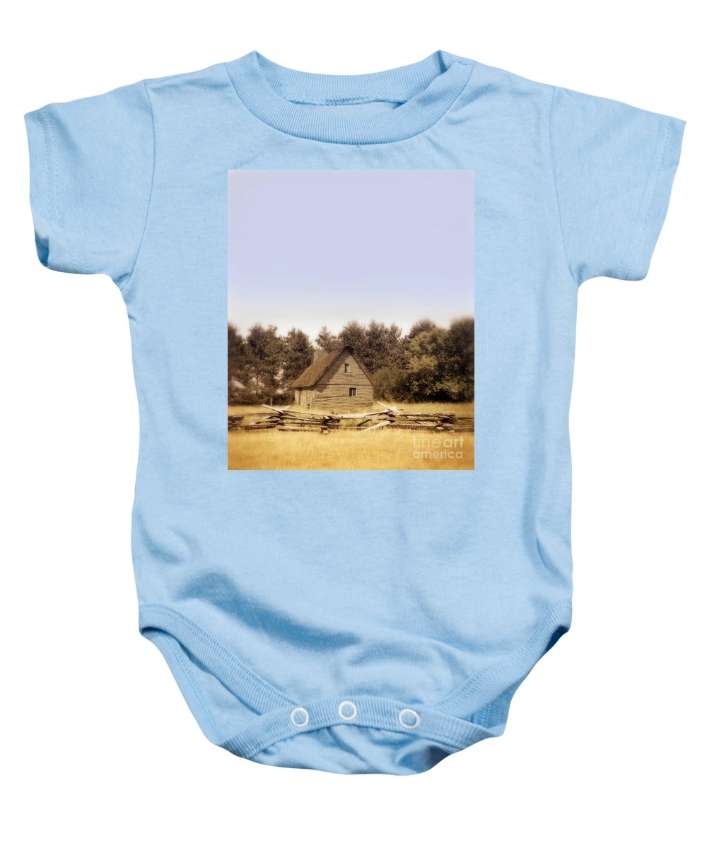 Cottage Baby Onesie featuring the photograph Cottage And Splitrail Fence by Jill Battaglia