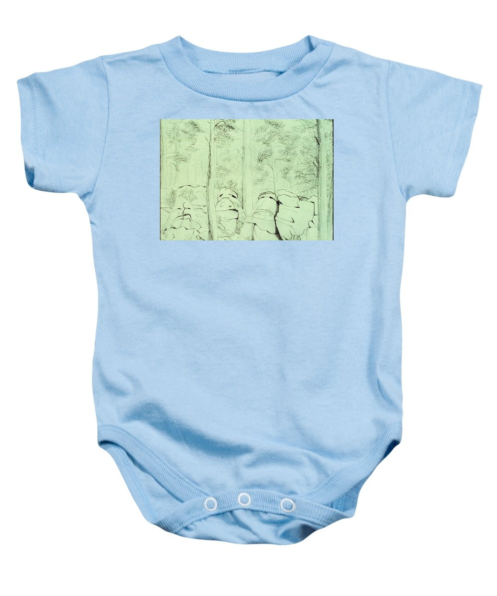 Pencil Baby Onesie featuring the drawing Council Of The Elders by Karen Buford