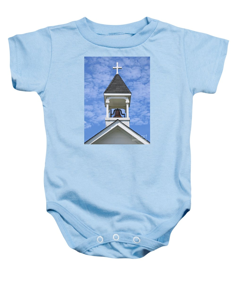 Cross Baby Onesie featuring the photograph Country Church Bell by Ann Horn