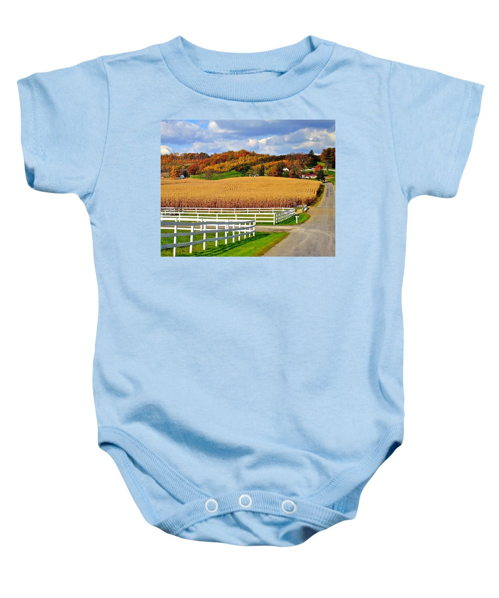 Country Baby Onesie featuring the photograph Country Lane by Frozen in Time Fine Art Photography