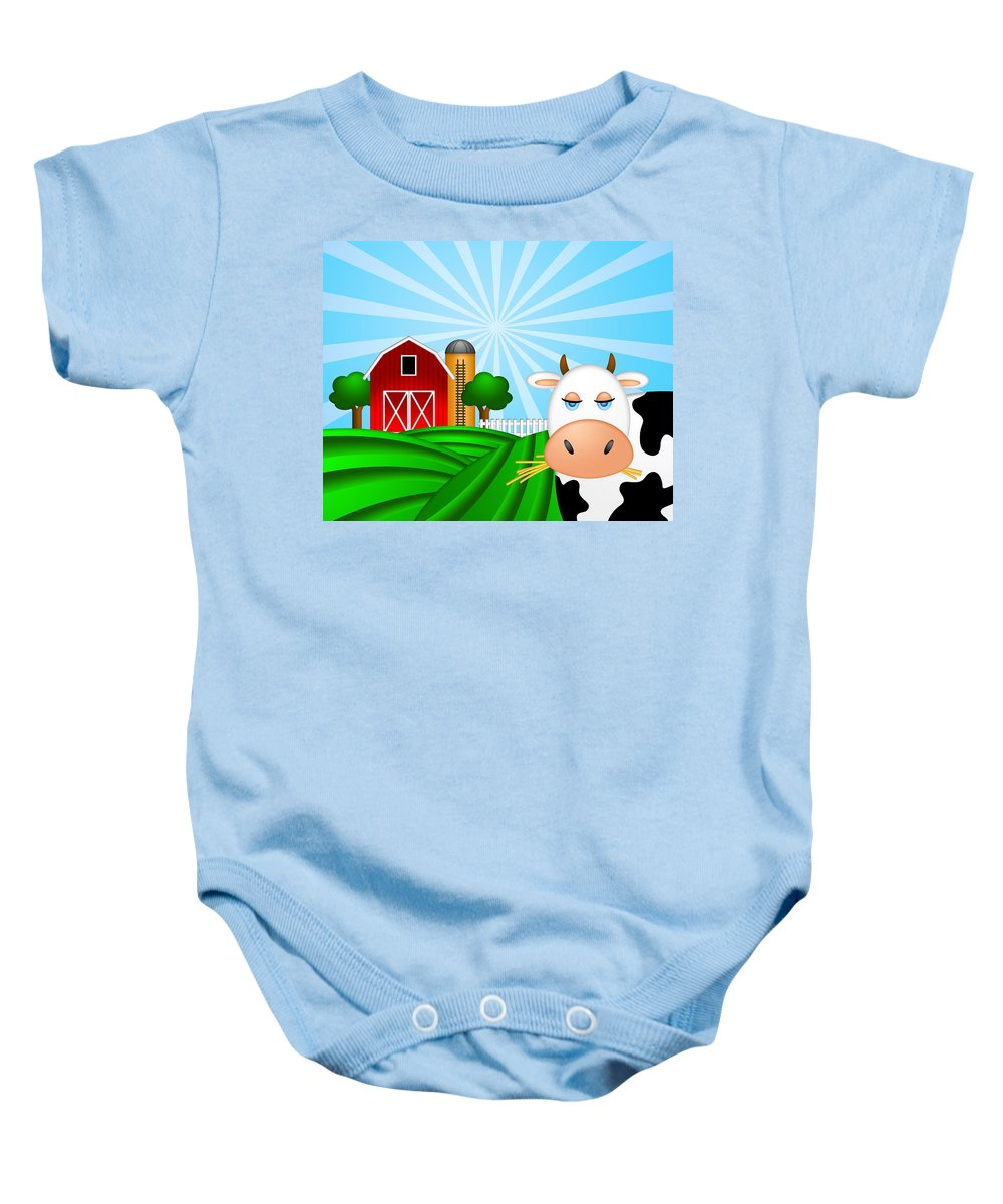 Red Baby Onesie featuring the digital art Cow On Green Pasture With Red Barn With Grain Silo by Jit Lim