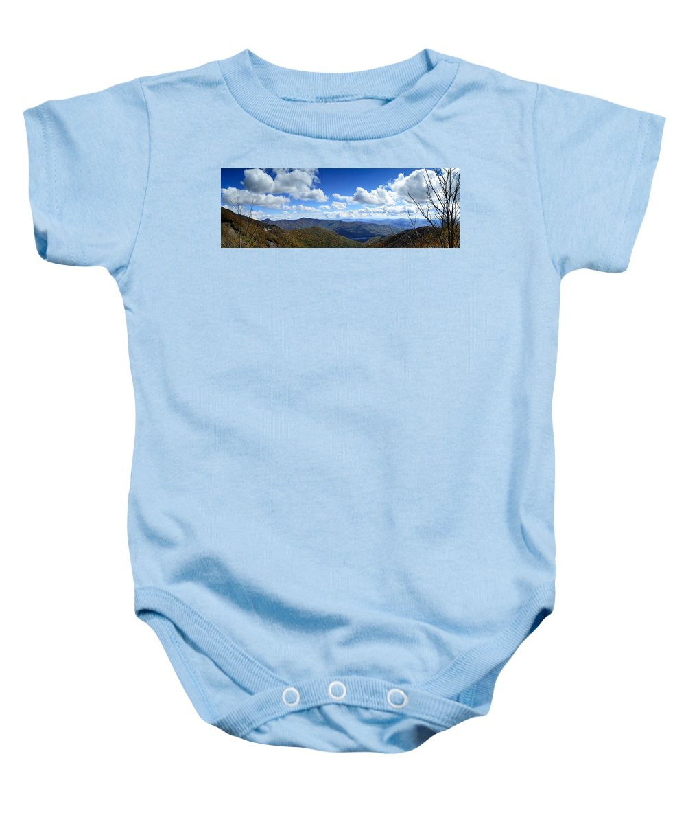 Craggy Gardens Baby Onesie featuring the photograph Craggy Gardens Draped In Clouds by Steve Samples