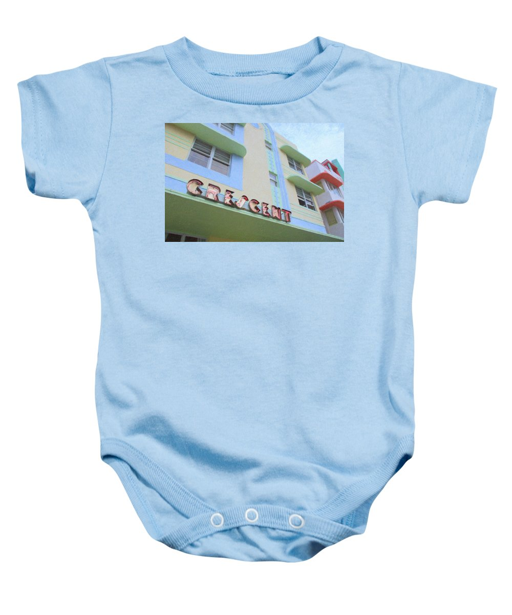 Art Deco Baby Onesie featuring the photograph Crescent Hotel by Tom Reynen