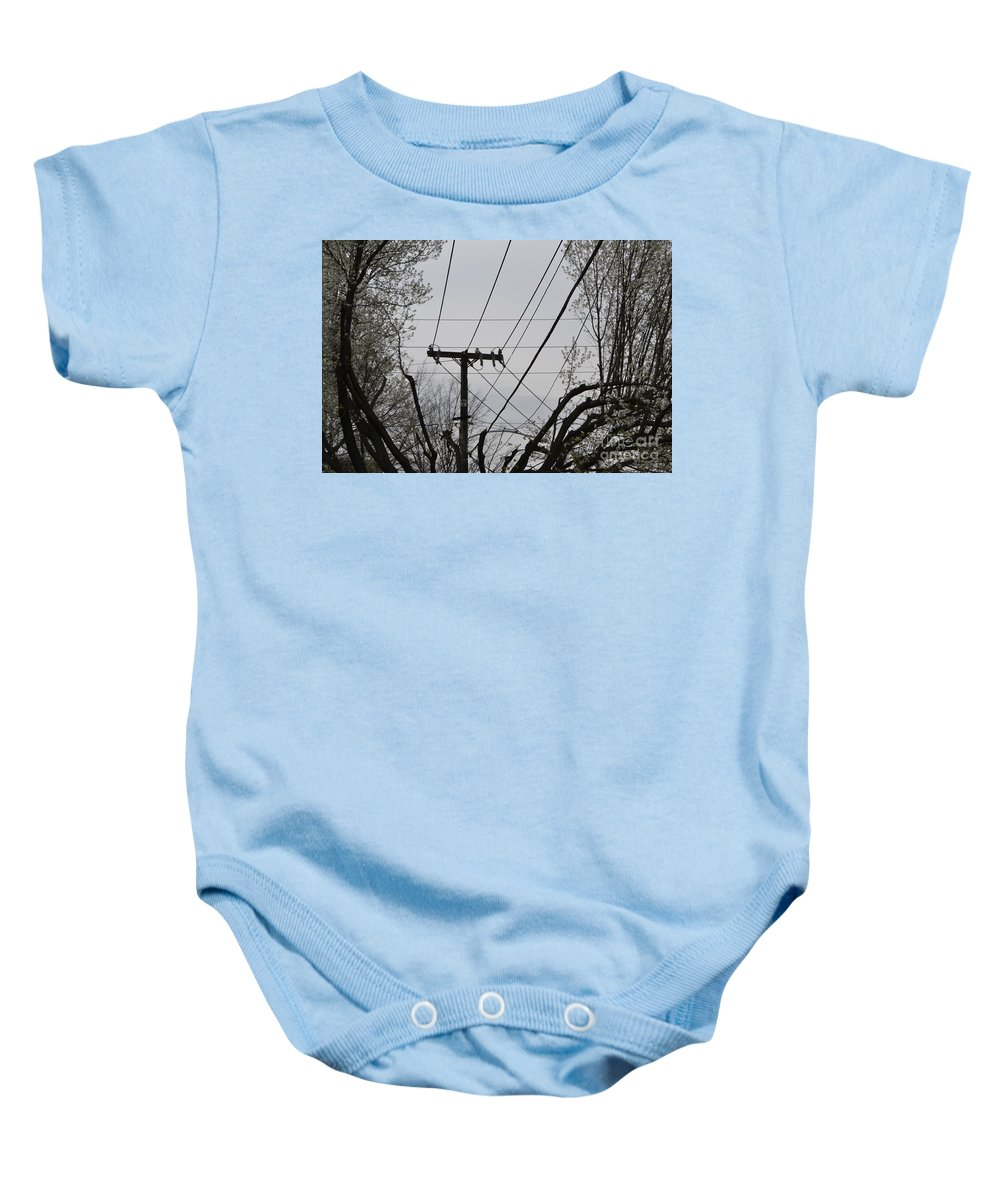 Power Lines Baby Onesie featuring the photograph Crossing Power Lines by Heather Jane