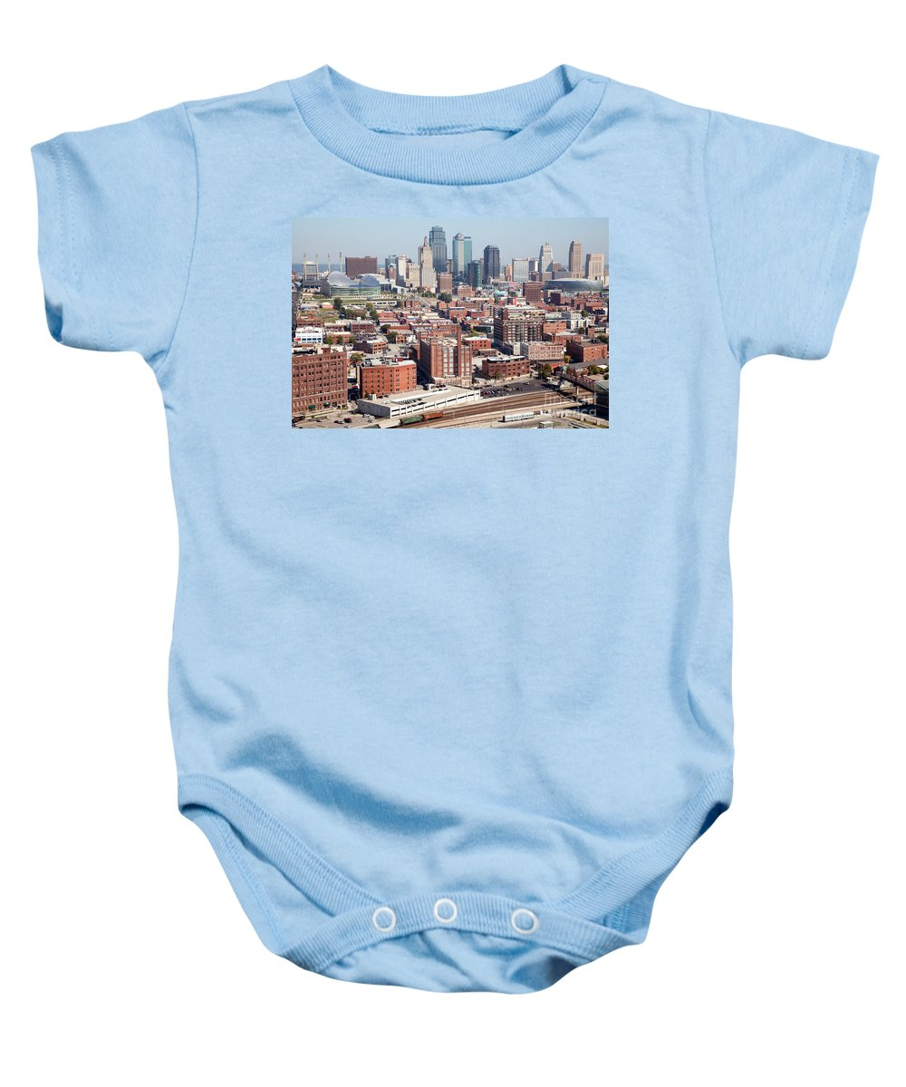 Aerial Baby Onesie featuring the photograph Crossroads Arts District Kansas City Mo by Bill Cobb