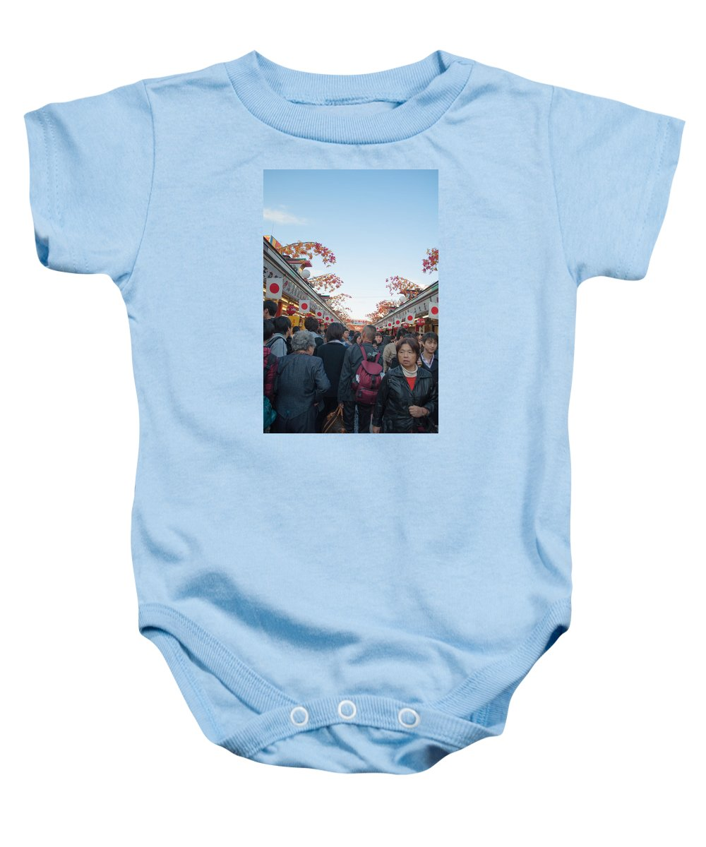 Asakusa Baby Onesie featuring the photograph Crowds Shopping by Jill Mitchell